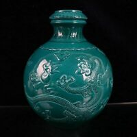 """11.6"""" Collect Chinese Porcelain Green Glaze Rilievo Dragon Play Fire Sphere Vase"""