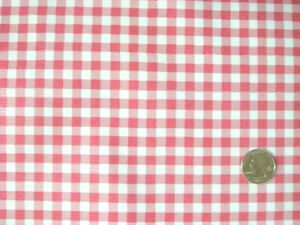 ROSE PINK GINGHAM CHECK KITCHEN PATIO DINING OILCLOTH VINYL TABLECLOTH 48x60 NEW