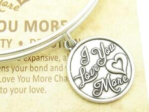 Wind and Fire I Love You More Charm Silver Wire Bangle Stackable Bracelet Gift
