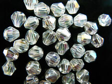 200pcs Clear AB Glass Crystal Faceted Bicone Beads 4mm Spacer Jewelry Findings