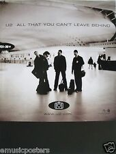 """U2 """"All That You Can'T Leave Behind"""" Australian Promo Poster - Irish Rock Music"""