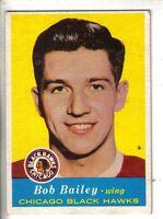 1957-58 Topps Hockey Card #19 Bob Bailey Chicago Black Hawks EX.