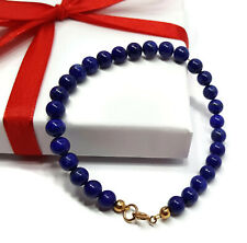 Lapis Lazuli Bracelet, 9ct Gold, Natural Gemstone Protection Beads, 7.5 Inch
