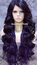 "39"" Long Wavy Layered Black Purple Mix Full Lace Front Wig Heat Ok Hair piece"