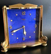 Vintage Imhof Art Deco Desk Alarm Swiss Clock 8 Day Mechanical Gold Tone Cobalt
