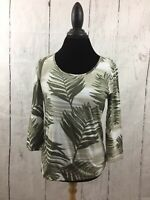 Chico's Knit Top Green Ivory Palm Leaf Print 3/4 Sleeve Scoop Neck Size 0 Small