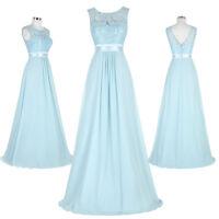 Formal Long V-Back Chiffon Ball Bridesmaid Gown Evening Senior Prom Party Dress