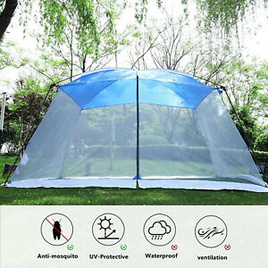 Camping Tent Mesh Net Wall Outdoor Gazebo Canopy Sunshade with Carry Bag 13X9FT
