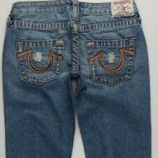 3e822cfd9 True Religion Bobby Big T Flare Jeans Women s 25 Low Rise Medium Blue Wash  A043
