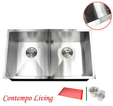 "32"" Undermount Zero Radius Double Bowl Stainless Steel Kitchen Sink Slim Divider"