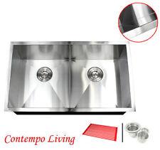 """32"""" Undermount Zero Radius Double Bowl Stainless Steel Kitchen Sink Slim Divider"""