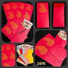 5 X Red Wedding Money Gift Envelopes Indian Shagun Salami Cash Gold Wallets