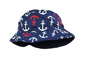 Baby Sun Hat Reversible Navy Blue with Nautical Anchors Size: 12-24 months NWT