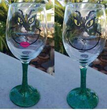 MR. & MRS. GRINCH WINE SET GLASSES NEW