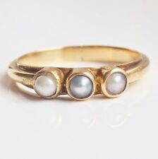 Delightful Antique Georgian 18ct Gold Pearl set Trilogy Ring c1825; UK Size 'O'