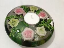 HAND MADE GLASS CANDLE HOLDER WITH FLORAL DESIGN( Green and Pink ) Medium
