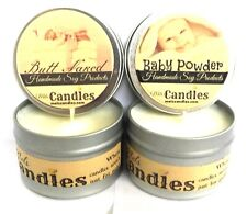 Combo Baby Powder and Butt Naked Set of Two- 4oz Soy Tin Candles