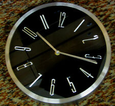 "NEW  11.5"" STAINLESS IRON BLACK DIAL  WALL CLOCK W/ QUIET SWEEP- ITEM # FS25514B"