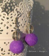 Ohrringe Filzohrringe Violett  LILA Spirale Tribal Filzperlen + handmade +