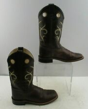 Boys Old West Brown Leather Western Cowboy Boots Size: 4.5
