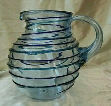 HAND BLOWN HEAVY MEXICAN GLASS PITCHER - Lt. Blue Tinted Glass, Navy/Teal Spiral