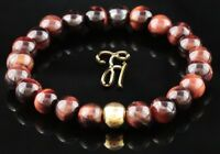 Tigerauge 925er sterling Silber vergoldet Armband Bracelet Perlenarmband rot 8mm
