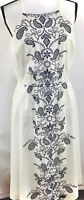 Maison Jules Women's Cotton Embroidered Dress Navy Blue Bright White Size L NWT