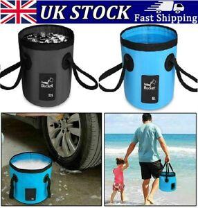 12L Folding Water Bucket Outdoor Fishing Trip Beach Camping Basin Storage UK