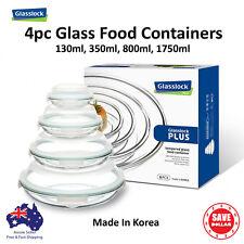 Glasslock Plus 4x Round Glass Food Container Set Storage Salad Bowl BPA Free