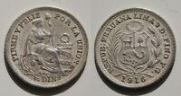 PERU . 1/2 DINERO DE 1916  . PLATA