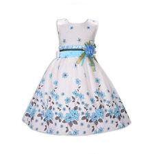 Flor Niñas Vestido de Fiesta Vestido de Verano Rojo Lila Azul 5 6 7 8 9 10 Años