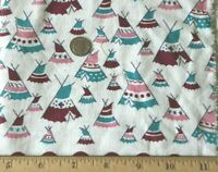 "Vintage Cotton Feedsack Novelty Teepee Print Fabric c1940-1950~L-36"" X W-12"""