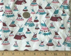 "Vintage Cotton Feedsack Novelty Teepee Print Fabric c1940-1950~L-36"" X W-12"""