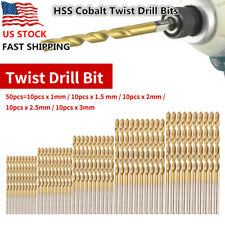 50PCs HSS Cobalt Twist Drill Bits HSS-Co For Hard Metal Stainless Steel Tools
