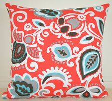 Red, Teal & White Designer Cushion Cover - 45cm x 45cm