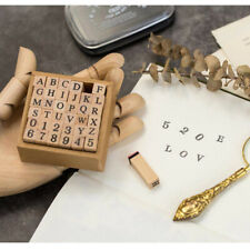 Wooden Rubber Stamps Set Scrap Booking Basic Alphabet Numbers Letters Decor ONE