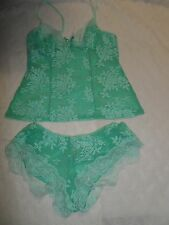 In Bloom by Jonquil 'Flower Child' Lace Boyshort Pajamas Light green S-NWOT