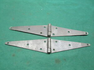 Pair Barn Door Strap Hinges 10 1/2 Inch Vintage Trunk Chest Hardware Rust Patina