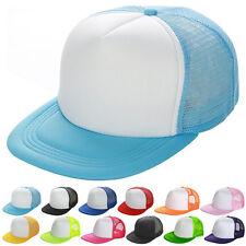 Baseball Cap Trucker Hat Blank Curved Hat Mesh Adjustable Plain Color Cap