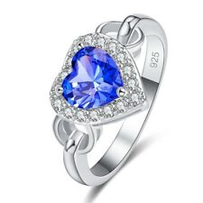 Love Promise Heart Tanzanite & White Topaz Gemstone Wedding Jewelry Silver Ring