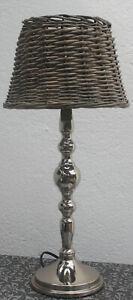 1 Tischlampe,Rattanschirm,Landhaus,Weide,Metall,Silber,Rattan,Korb