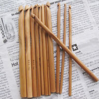 New 12 Sizes Per Set Bamboo Crochet Hook Size 3-10mm Knitting Needles Craft 15cm