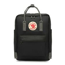 Fjällräven Kanken Rucksack mit Farbigem Band Schule Tasche Backpack - Schwarz