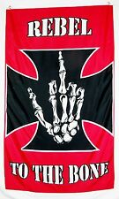 Rebel To The Bone Flag 5' X 3' Deluxe Indoor Outdoor Vertical Banner