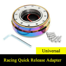 "Universal 1.5"" Short Quick Release Neo Chrome Steering Wheel 6 Bolt Hub Adapter"
