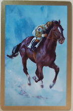 Vintage Playing Swap Cards HORSE AND JOCKEY RACING BLUE BACKGROUND GOLD BORDER