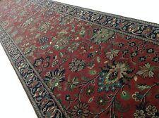 "2'.6"" X 20'.0"" Red Navy Blue Sarouk Persian Oriental Rug Long Runner Handmade"