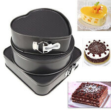 3 Set Non-Stick Bakeware Springform Cake Pan Mould Round Heart Square Tray Tins