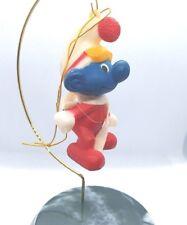 Smurfs Christmas Ornament 1982 Smurf Figure Vintage PVC Figurine Scarf Skiing