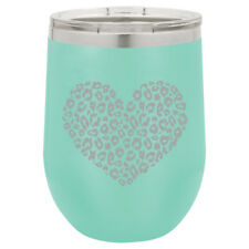 Stemless Wine Tumbler Coffee Travel Mug Glass Insulated Leopard Print Love Heart